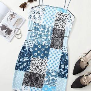 Blue Print Bodycon Dress